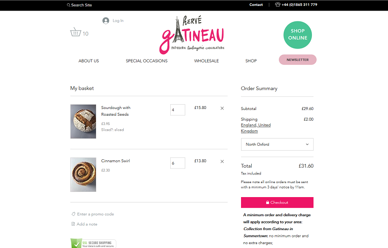 Shows new bakery online ordering sales cart
